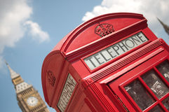 London red telephone box. Close up of a red telephone box in London with Big Ben Stock Photo
