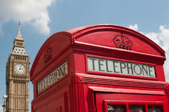 London red telephone box. Close up of a red telephone box in London with Big Ben  in the background Stock Photography