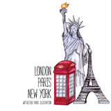 London red telephone box, Statue of Liberty and the Eiffel Tower. Watercolor illustration Stock Image