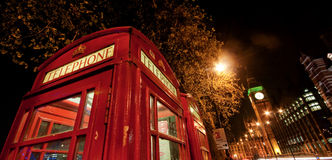 London Red Telephone by night Stock Photos