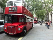 London Reds. Doubledecker vintage buses of London near Trafalgar Square Royalty Free Stock Photo