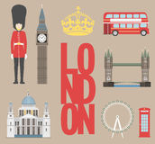 London-Reiseinformationsgraphik Vector Illustration, Big Ben, Auge, Turmbrücke und Doppeldeckerbus, Polizeikasten, St. Pauls Lizenzfreie Stockfotos