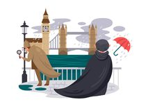 London river embankment. People in rain on waterfront. Vector illustration Royalty Free Stock Image