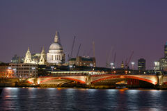 London river scene by night. London Blackfriars Bridge with St. Paul's Cathedral on the left-hand side Royalty Free Stock Photos