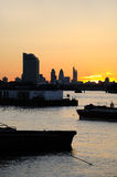 London river at sunset Royalty Free Stock Photos