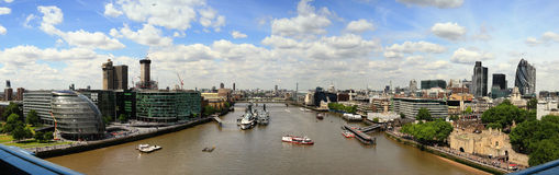 London River Thames. Panoramic view of London with the River Thames and the city stock image