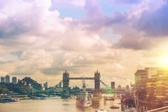 London River Thames Panorama Royalty Free Stock Images