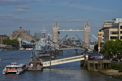 London river Thames view open Tower Bridge Stock Photography