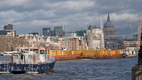 London river traffic in winter stock images