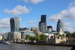 London from river. View on London Tower and London City from Thames River Royalty Free Stock Photo