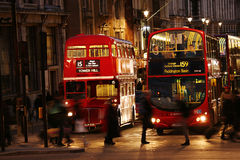 London Routemaster Bus at night Royalty Free Stock Images