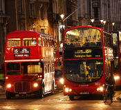 London Routemaster Bus at night Stock Image
