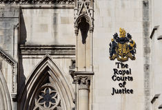 The London Royal Courts of Justice. London, Aldwych: main entrance of The Royal Courts of Justice Royalty Free Stock Photography