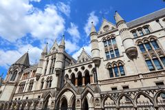 London Royal Courts. London, UK - Royal Courts of Justice on the Strand Royalty Free Stock Photography