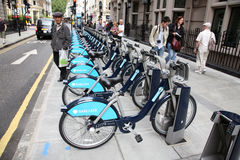 London's bicycle sharing scheme Royalty Free Stock Photos