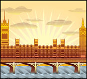 London's Big Ben. Landscape with London's Big Ben, Westminster Abbey, and the River Thames illustration in original style vector illustration
