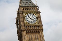 London`s Big Ben close up showing almost 4pm stock photography