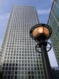 London's Canary Wharf. Office skyscrapers, with lamp Stock Images