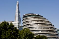 London's City Hall and the new The Shard. Skyscraper in London Stock Images