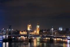 London's Eye and Big Ben at night, England Stock Image