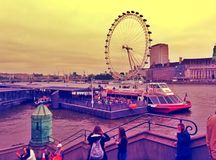 London's eye with tourists outdoor london UK Royalty Free Stock Image