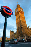 London's landmarks. LONDON - JULY 29, 2009: The London 'Underground' logo will be used from now on for other transportation systems - has been announced by Stock Photography