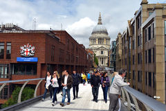 London - S. Paul Cathedral and Millenium Bridge. Image was taken on July 2012 Stock Photography