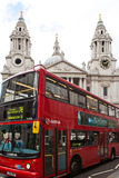 London's red bus in front of saint paul's cathedral Stock Image