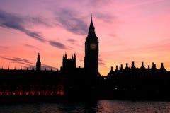 london s solnedgång Arkivbild