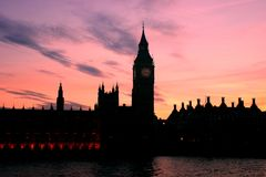 London's sunset. The beautiful sunset in London, by the Thames Stock Photography
