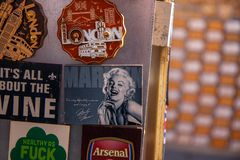 Marlin Monroe in London Market. London`s vintage clothing market Royalty Free Stock Photos