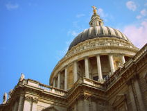 London Saint Paul cathedral dome from below angle. Dome of the Saint Paul cathedral of London from up close Stock Photo