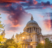London Saint Paul Cathedral reflections at sunset.  Stock Images