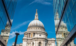 London Saint Paul Cathedral reflections at sunset.  Stock Image