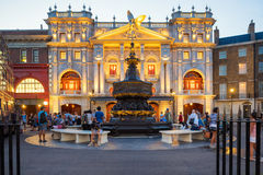 London scene  at  Universal Studios Florida. ORLANDO,USA - AUGUST 23, 2014 : London scene with the Piccadilly Circus fountain near the Harry Potter ride at Royalty Free Stock Photos