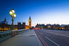 London scenery at Westminster bridge with Big Ben Royalty Free Stock Images