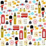 London seamless pattern. Seamless pattern with cute cartoons related to London and England Royalty Free Stock Images