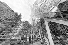 LONDON - SEPTEMBER 25, 2016: Upward view of London City skyscrap Royalty Free Stock Photos