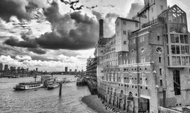 LONDON - SEPTEMBER 2016: City skyline along river Thames. London. Attracts 30 million people annually royalty free stock photos
