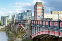 LONDON - SEPTEMBER 25, 2016: Traffic on Lambeth Bridge. The city. Attracts 30 million tourists annually Stock Photo