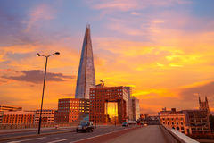 London The Shard building at sunset Stock Photos