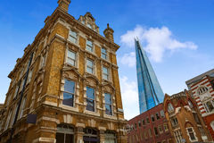 London shard view from old brick buildings Stock Image