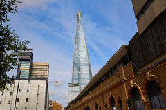 London shard view from old brick buildings Royalty Free Stock Photo