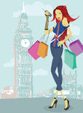 london shopping royaltyfri illustrationer