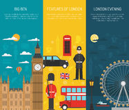 London Sightseeing 3 Vertical Banners Set. London visitors sightseeing attractions with night thames river 3 vertical flat banners set abstract vector stock illustration