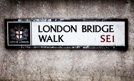 London Sign. London Bridge Walk street sign in London, England Royalty Free Stock Photos