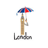 London sign hand lettering. British jack flag colored umbrella and Big Ben tower Royalty Free Stock Image
