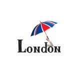 London sign hand lettering. British jack flag colored umbrella Stock Images
