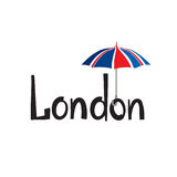 London sign hand lettering. British jack flag colored umbrella Royalty Free Stock Image