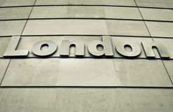 London sign. On a modern concrete wall Stock Photography
